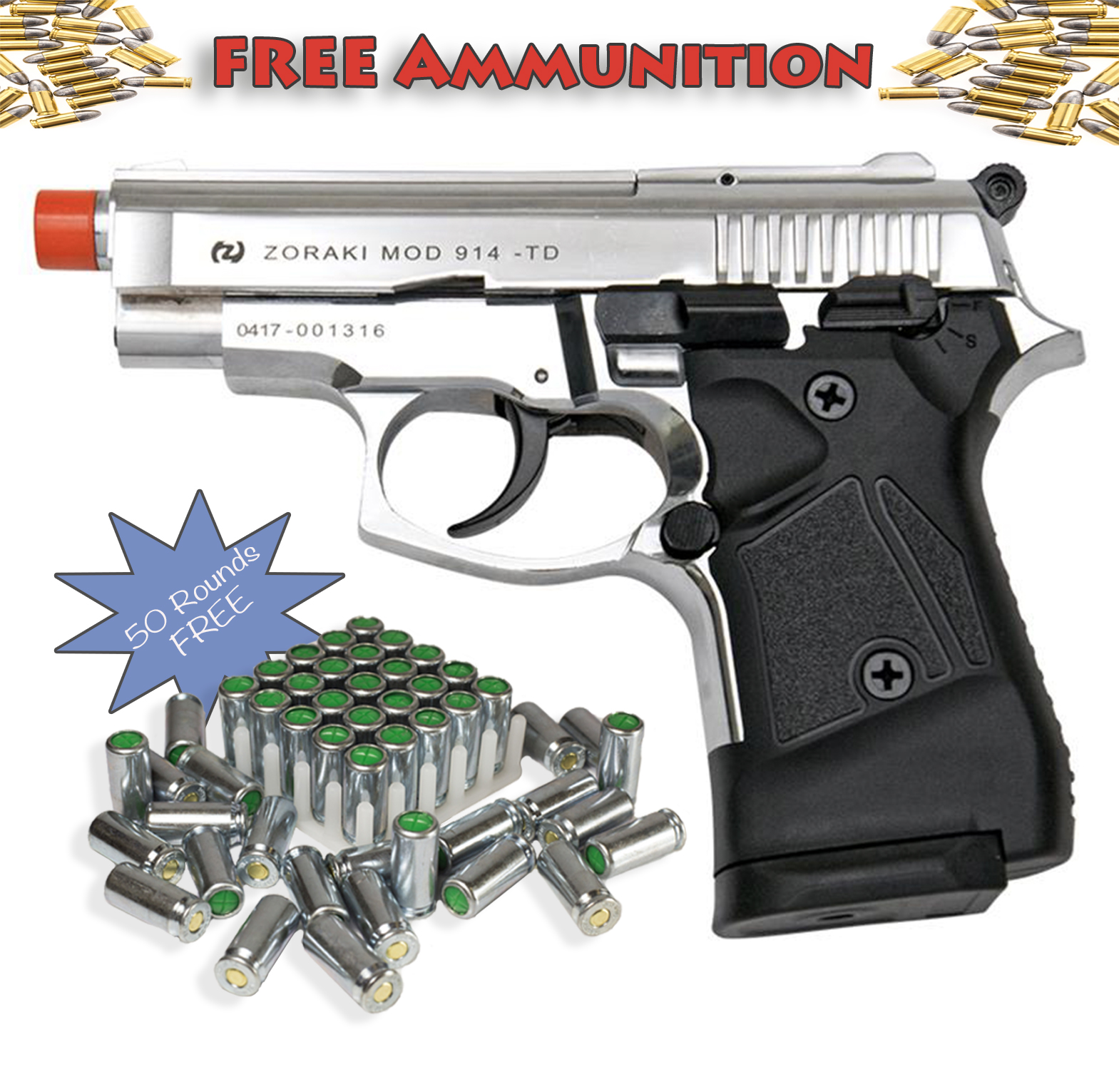 Zoraki Front Firing M914 Chrome Finish 9mm Blank Gun Pistol