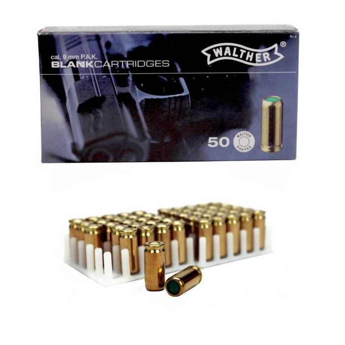 50 Rounds 9mm P A K  Blanks Steel Case, For Full & Semi-Auto Pistols
