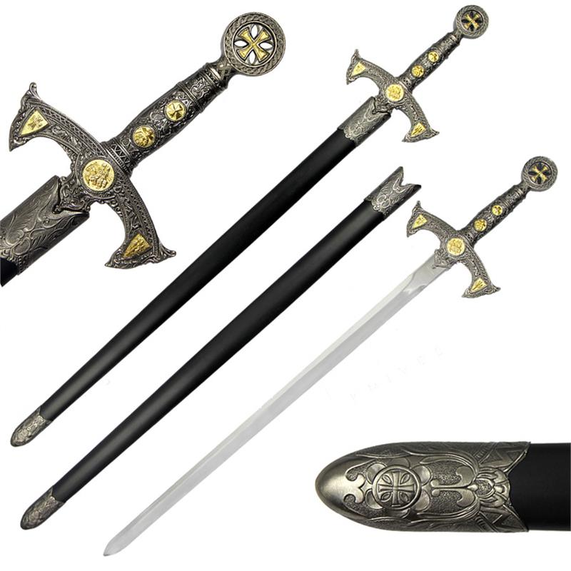 Collectibles Miniature Medieval Golden Templar Knight Stainless Steel Sword Dagger Knives, Swords & Blades