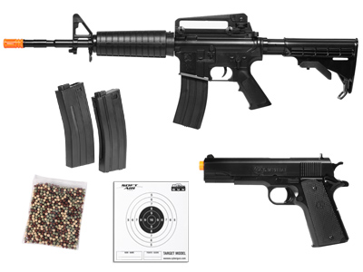 Colt M4-A1 Assault Rifle & M1911 Pistol Spring Airsoft Players Combo Pack