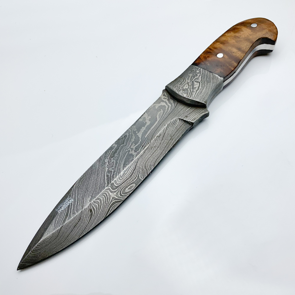 Damascus Steel Custom Handmade Fixed Blade Hunting Knife 11 Inches