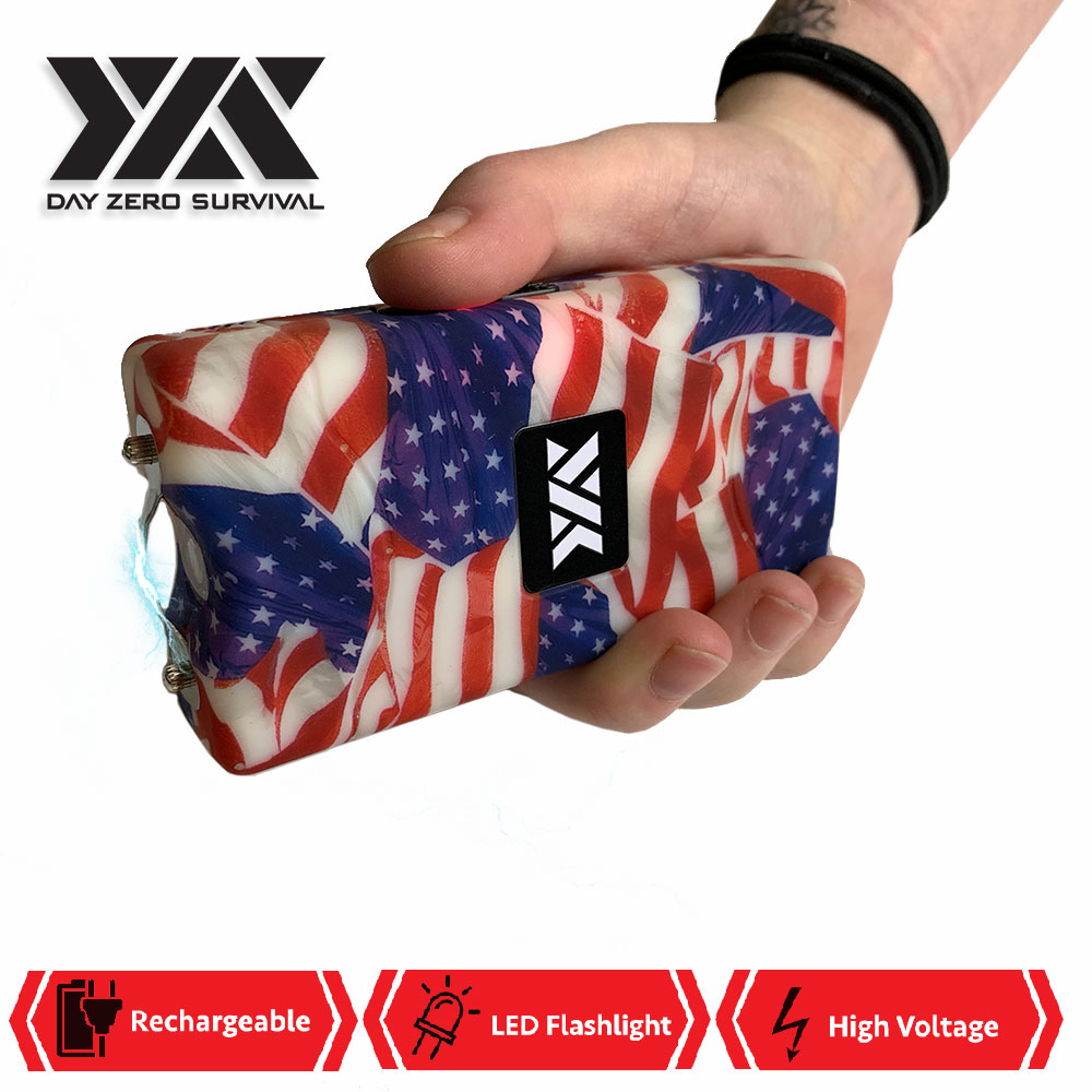 DZS 10 Million Volt Self Defense USA Flag Print Stun Gun