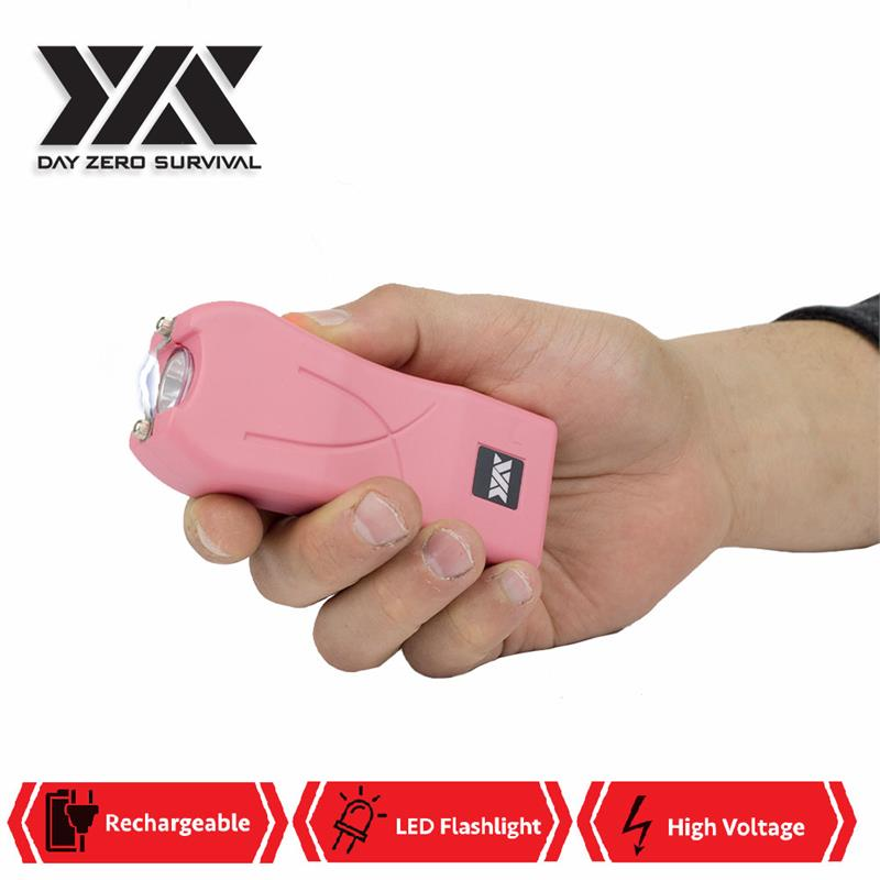 DZS Maximum Power Rechargeable Pink Stun Gun With LED Flash Light