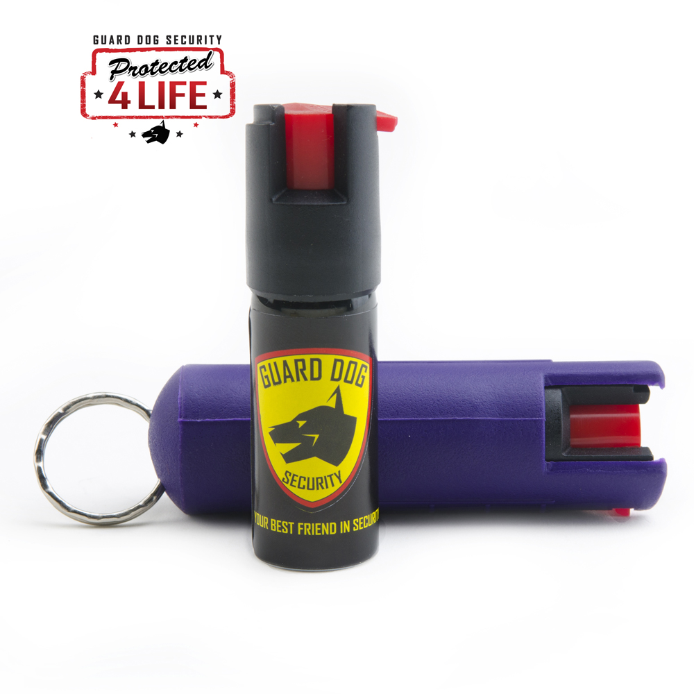 Purple Hard Case Personal Defense Pepper Spray Keychain With Belt Clip