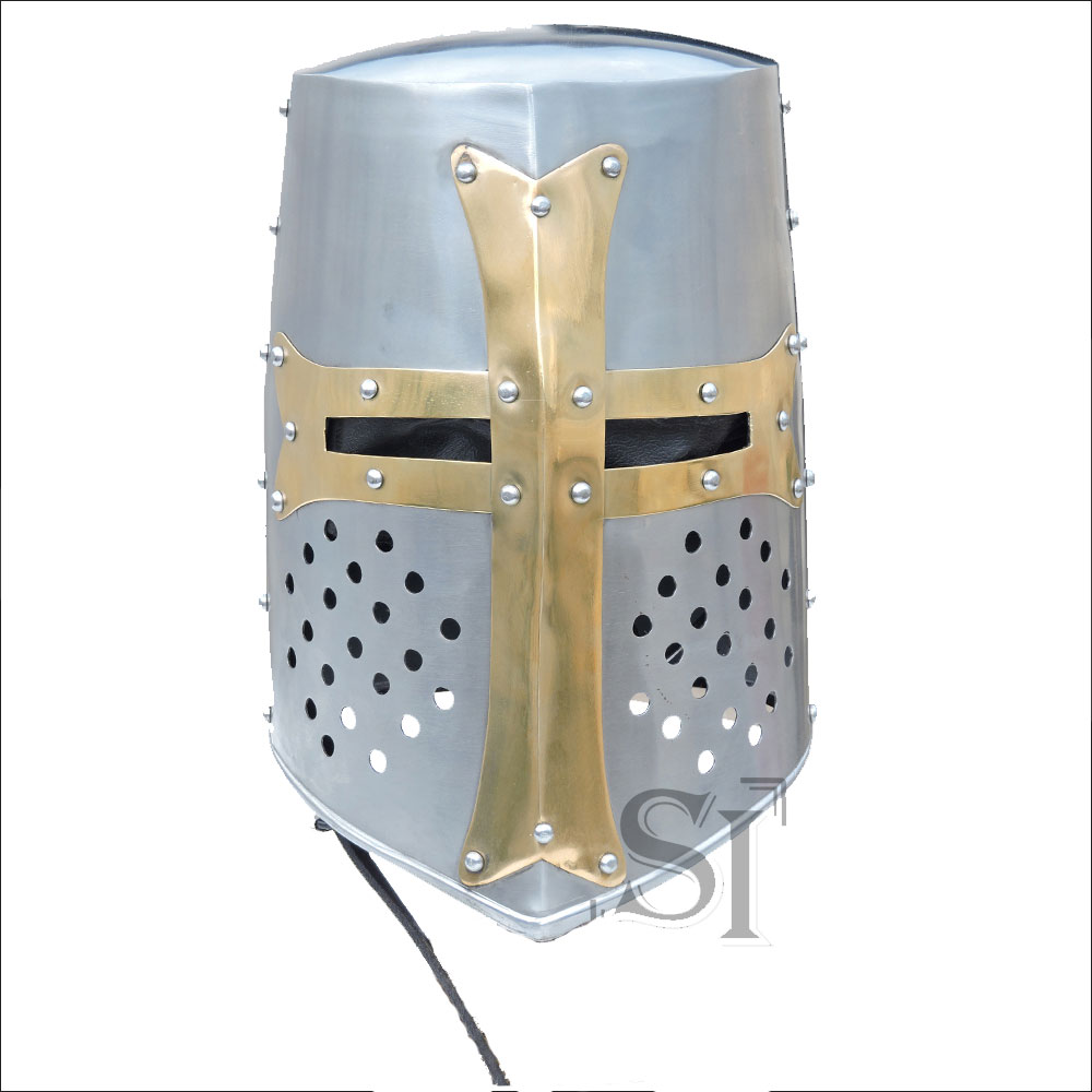 brass crusader knights helmet