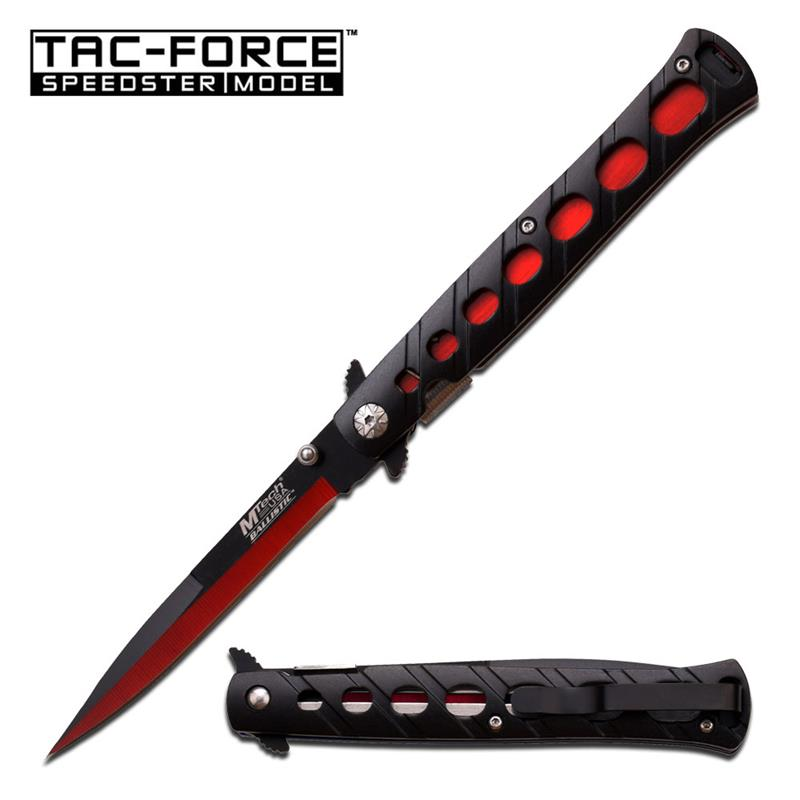 Two Tone Black Red Blade Stiletto Tactical Folding Spring Assist Knife