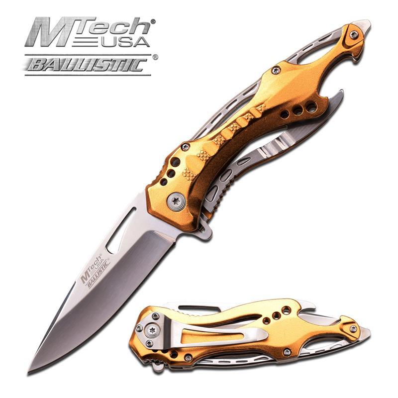 MTech USA Gold Spring Assist Steel Pocket SCREWDRIVER Can Opener Knife