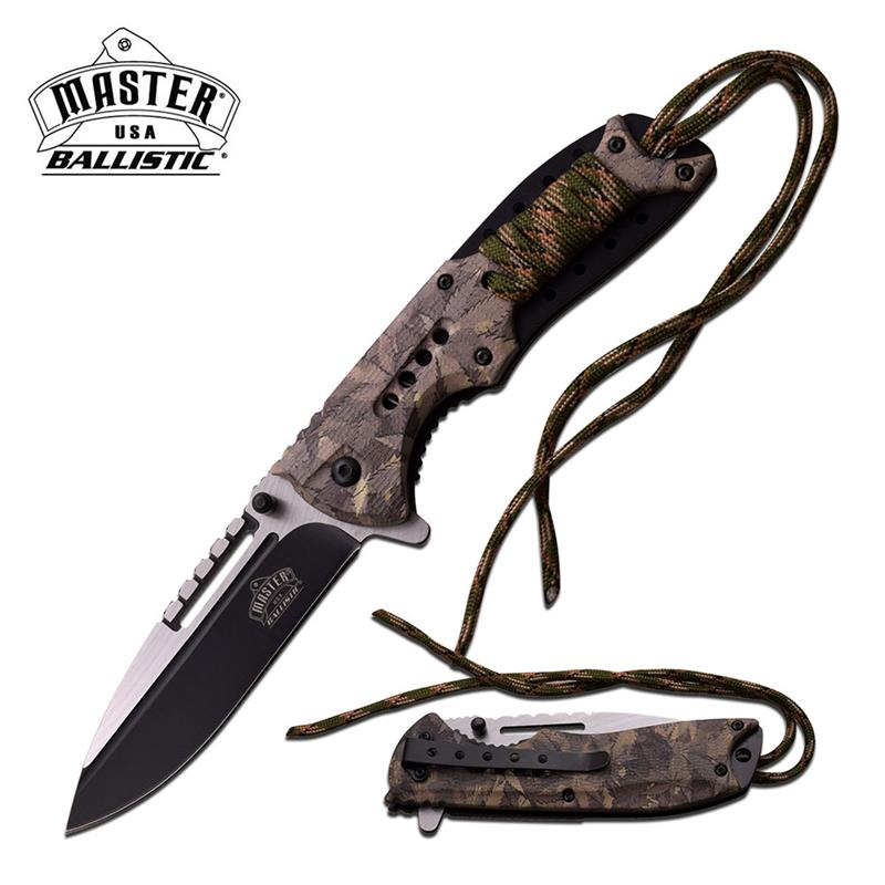 USA Ballistic - Spring Assisted Knife Marijuana Camo Coated Handle