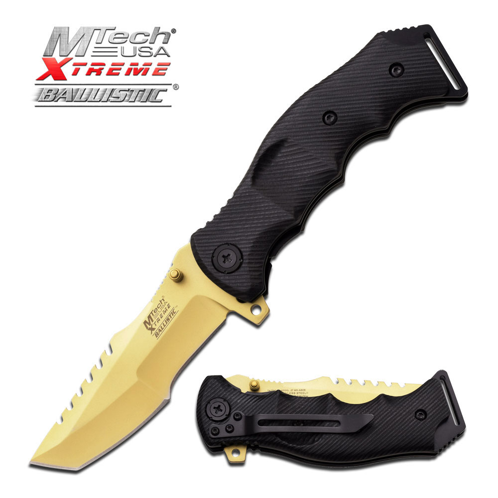 5 Inch MTech Xtreme Spring Assisted Gold Plate Knife