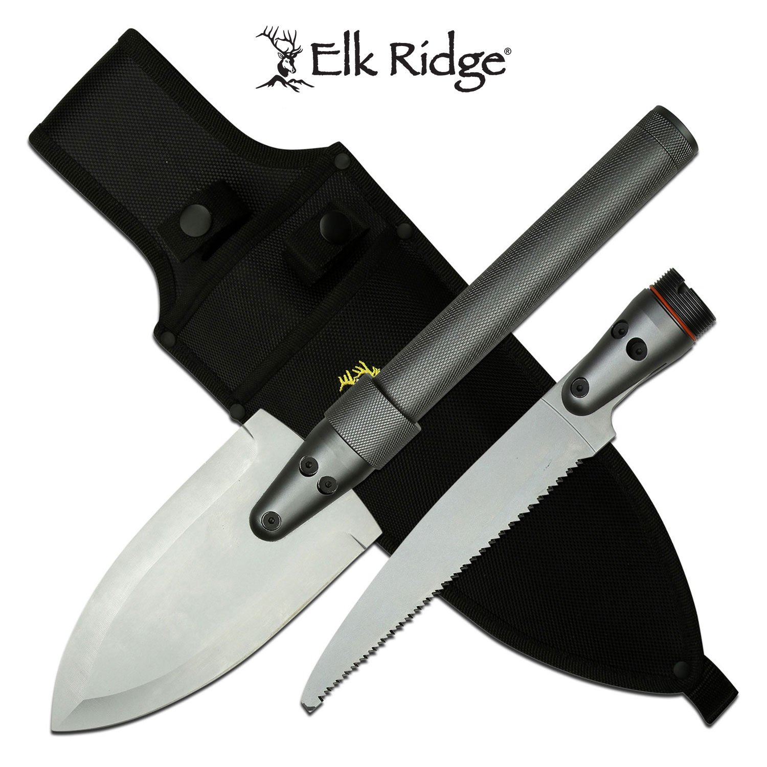 Survival Knife Kit Spear And SAW Blade Entrenching Tool With Nylon Sheath