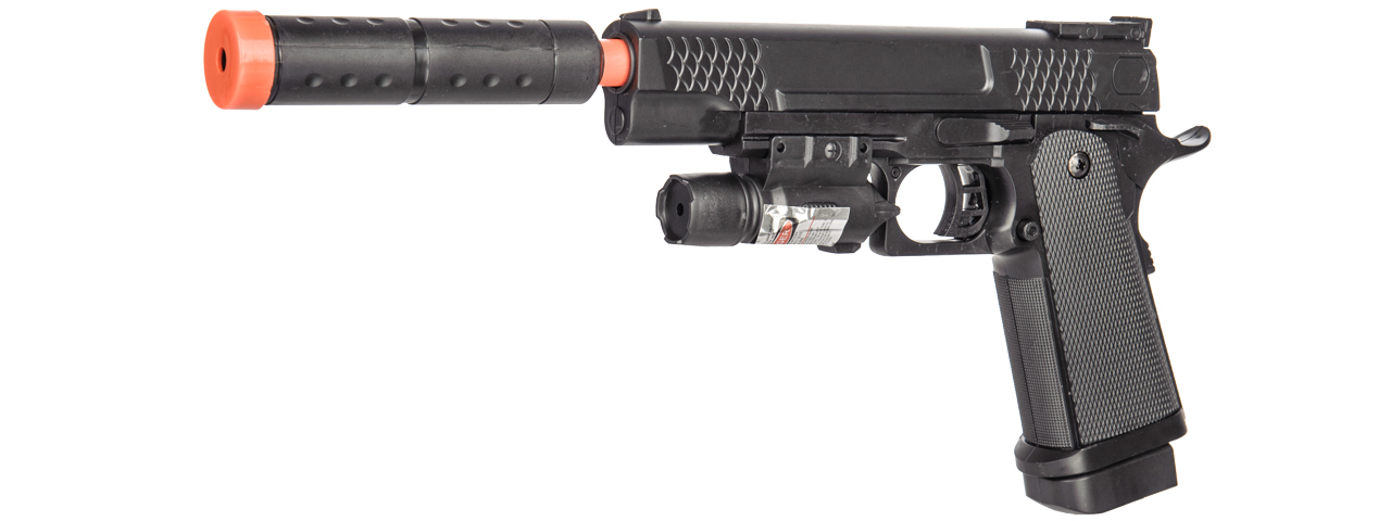 P2002C Spring Pistol Airsoft Gun With Laser & Mock Suppressor