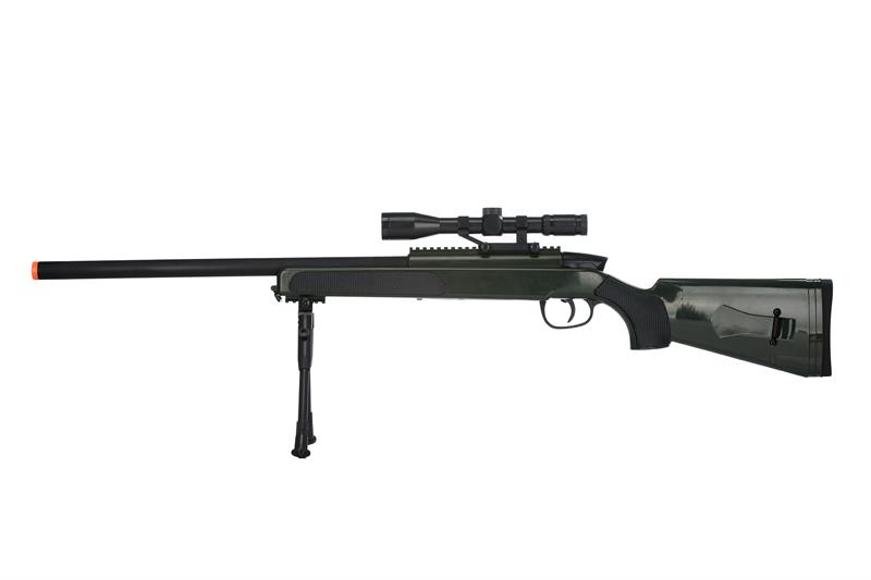 415 FPS Airsoft MK51 Bolt Action Sniper Rifle W/ Scope & Bi-Pod - Olive Drab