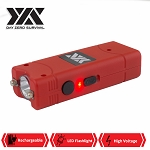 Red DZS Rechargeable Self Defense Ultra Mini Stun Gun With LED FlashLight