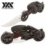 Biker Fantasy Folding Knife Flaming Skull Rider Motorcycle Collectible