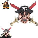 Pirate Skull Hat Blood Stained Swords Mask For Cosplay Halloween Masquerade