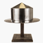 Medieval Silver Kettle Hat Helmet Warrior Costume With Display Stand