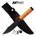 Mtech USA Fixed Blade Stealth Survival Knife Tennis Racket Handle Orange