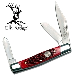 Elk Ridge Stockman Knife - Red Wood Handle