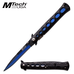 Spring Assist Pocket Folding Knife Mtech Black Blue Tactical Stiletto Blade
