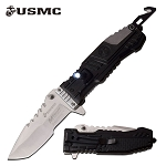Spring Assist Folding Knife USMC Marines Black EDC Tanto Blade Led Light