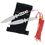 2pc Silver Stainless Steel Throwing Knife Set with Tassles - 5.5