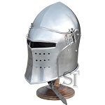 Medieval Renaissance Detachable Visor Barbute With Stand