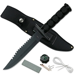 12 Inch Black Jungle Master Survival Knife With Kit