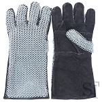 Medieval Suede Leather Gloves With Steel Chainmail Gauntlets