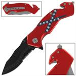 Confederate States Rebel Flag Tactical Spring Assisted Knife