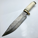 Damascus Steel Custom Handmade Fixed Blade Bowie Knife 14
