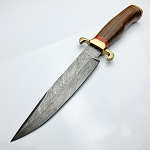 Custom Hand Made Damascus Steel Fixed Blade Bowie Knife 14