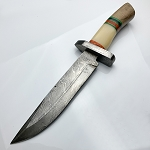 Damascus Steel Custom Hand Made Hunting Bowie Knife 15