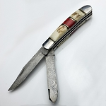 Double Blade Hand Made Damascus Steel Pocket Knife