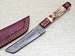 Damascus Steel Mountain View Bone Folding Outdoor Pocket Knife Leather Sheath