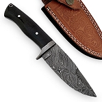 9.5 Inches Full Tang Damascus Handmade Hunting Knife With Sheath