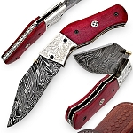 Outdoor Everyday Camping Damascus Red Horse Canyon Folding Knife