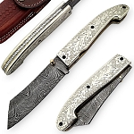 Outdoor Damascus Steel Silver Lotus Manual Pocket Knife