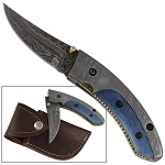 Maya Blue Dromedary Bone Damascus Steel Pocket Folding Knife