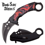 Black Red Dragon Karambit Tactical Spring Assist Folding Knife