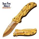 Dark Side Blades 4.75 Inch Gold Dragon Spring Assisted Knife