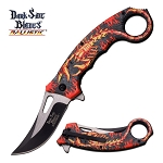 Red Black Flame Scorpion Fantasy Karambit Spring Assisted Knife