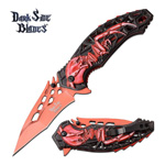 Skull Spider Fanntasy Spring Assisted Folding Pocket Knife Blue Red
