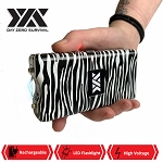 DZS 10 Million Volt Self Defense Zebra Print Stun Gun Rechargeable LED FlashLight