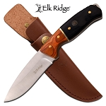 Hunting Knife Drop Point Blade Black Wood Handle Full Tang + Sheath