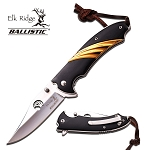 Spring Assist Folding Pocket Knife Elk Ridge Silver Blade Gold Black Wood