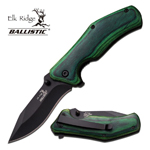 2.9 Inch Closed Green Wood Handle Spring Assist Knife