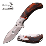4.25 Inch Closed Spring Assisted Folding Knife Brown PakkaWood