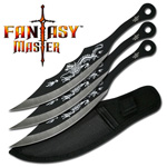 3 Piece Stainless Bullseye Dragon Throwing Knives Set
