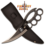 Ninja Knuckle Fighter Cobra Knife - Grey Cord Wrapped Handle