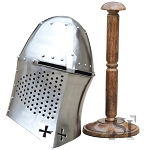 Fantasy Templar Helmet With Stand - 16 Gauge